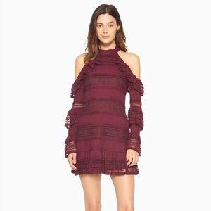 NWT Parker Windham Ruffle Lace Mauve Wine Dress